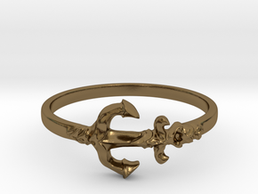 Anchor Of Hope Ring  in Polished Bronze: 6 / 51.5