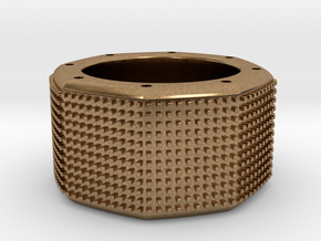 octagon ring with squares Ø18mm in Natural Brass