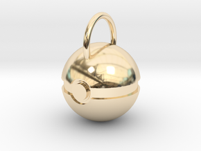 Poke Ball Pendant in 14k Gold Plated Brass