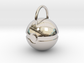 Poke Ball Pendant in Rhodium Plated Brass