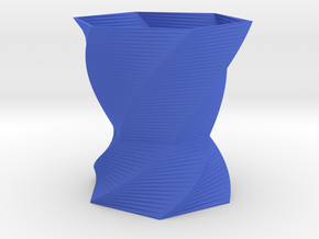 3D printed Cool spiral Vase in Blue Strong & Flexible Polished: d6