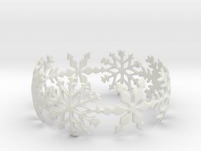 Snowflake Bangle (small) in White Natural Versatile Plastic: Small