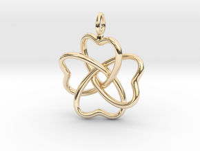 Heart Petals 4 Leaf Clover - 3.3cm - wLoopet in 14K Yellow Gold