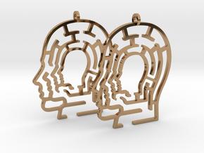 Head Maze Earrings in Polished Brass