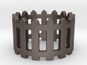 Fence Ring  in Polished Bronzed Silver Steel: 7 / 54