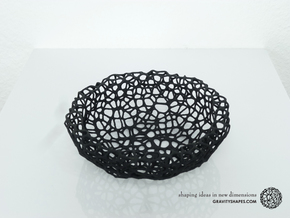 Key shell / bowl (11,5 cm) - Voronoi-Style #2 in Black Natural Versatile Plastic