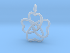 Heart Petals 4 Leaf Clover - 3.3cm - wLoopet in Smooth Fine Detail Plastic