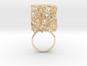 Voronoi Cube Ring (Size 8.5) in 14K Yellow Gold