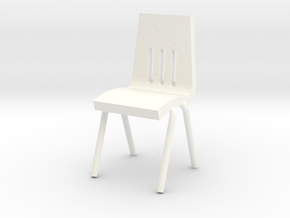 Miniature 1:48 School Chair in White Processed Versatile Plastic