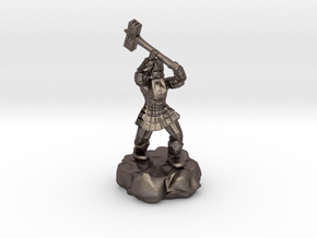 Dwarf Fighter With Warhammer in Polished Bronzed Silver Steel