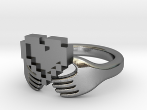 8bit Claddagh Ring  in Polished Silver: 6 / 51.5