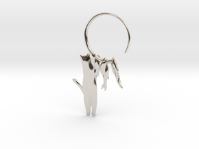 Fishing Cat in Rhodium Plated Brass