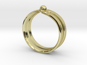 Wave Ring in 18k Gold Plated Brass: 8 / 56.75