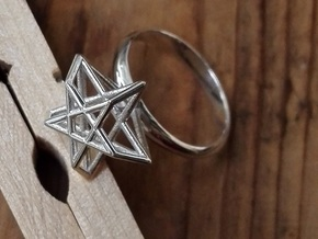 Pentagram Ring in Polished Silver