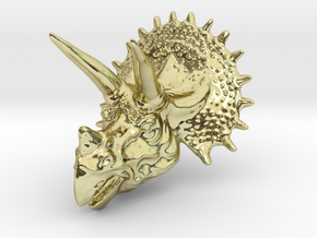 Triceratops Head - Pendant in 18k Gold Plated Brass