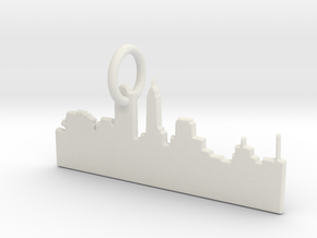 Skyline Keychain in White Natural Versatile Plastic