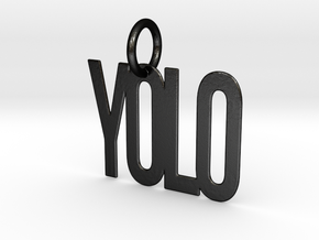 YOLO Keychain in Matte Black Steel