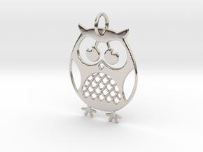 OWL Keychain in Rhodium Plated Brass