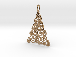 Christmas Tree Pendant 9 in Polished Brass