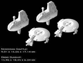 (Armada) 2x Neimoidian Shuttle + 2x Droid Gunship in Smooth Fine Detail Plastic