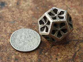 Dodecahedron in Polished Bronzed Silver Steel: Extra Small
