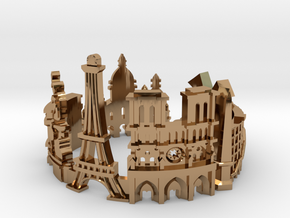 Paris Skyline - Cityscape Ring in Polished Brass: 9 / 59