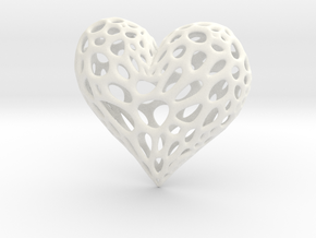 Organic Heart in White Strong & Flexible Polished