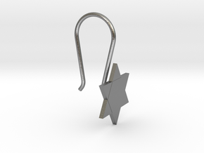 Custom Star Earring With Hook in Natural Silver