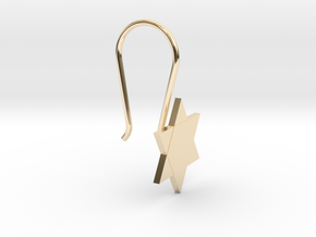 Custom Star Earring With Hook in 14K Yellow Gold