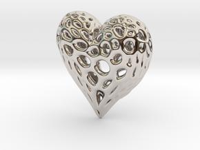 Organic Heart Necklace in Platinum