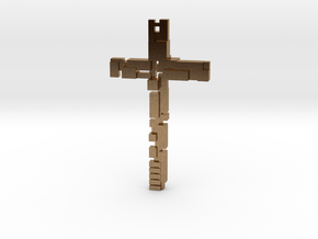 Cross with dimensions in Natural Brass