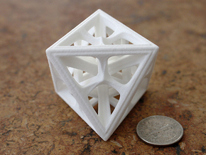 Octahedron in White Strong & Flexible Polished: Medium