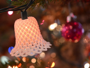 Woven Chistmas Light Bell in White Natural Versatile Plastic