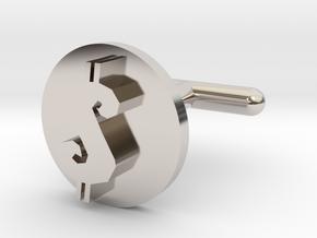 Cufflink - $ in Rhodium Plated Brass