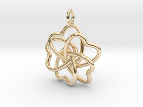 Heart Petals 5 Leaf Clover - 3.5cm - wLoopet in 14k Gold Plated Brass