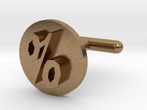 Percentage Symbol Cufflink  in Natural Brass