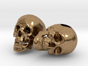 Human Skull Bead - double pack in Natural Brass