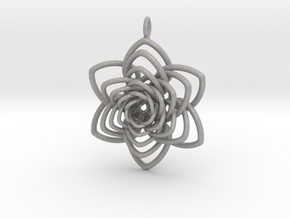 Heart Petals 6 Points Spiral - 5cm - wLoopet in Aluminum