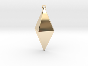 Z Crystal Pendant in 14k Gold Plated Brass
