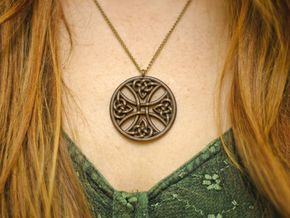Round Celtic Cross Pendant in Matte Bronze Steel: Large