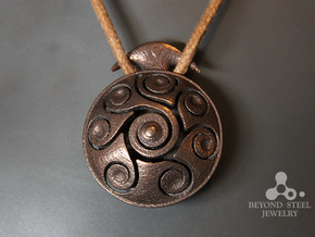 Handpan Instrument Pendant v3 in Polished Bronze Steel