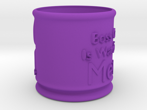Boss Cat Mug in Purple Strong & Flexible Polished