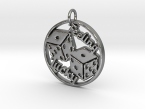 Feeling Lucky Dice Pendant in Natural Silver