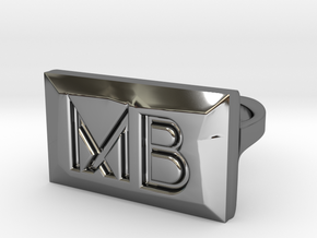 MB Ring in Fine Detail Polished Silver: 6 / 51.5