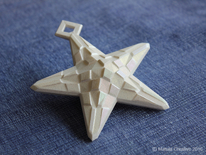 Stylised Sea Star ornament for Christmas in White Strong & Flexible Polished