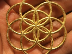 Flower of Life Seed in Polished Gold Steel
