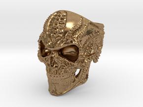 BioMech Skull Ring in Natural Brass
