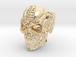 BioMech Skull Ring in 14K Yellow Gold
