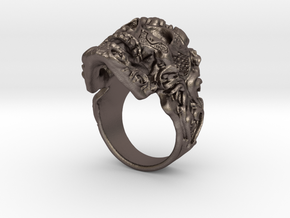 Filigree Skull Ring in Polished Bronzed Silver Steel