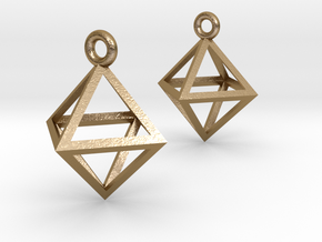 Octahedron Earrings in Polished Gold Steel